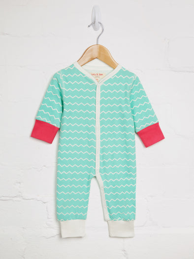 Aqua Chevron Button Romper - cool baby clothes by lucy & sam