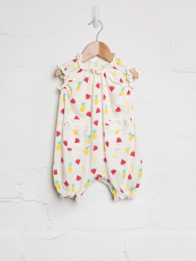 Tropical Fruit Frill Romper - cool baby clothes by lucy & sam