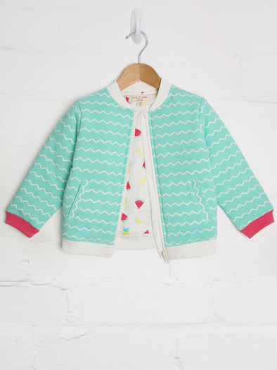 Aqua Chevron Bomber Jacket - cool baby clothes by lucy & sam