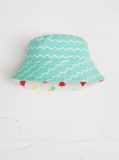 Aqua Chevron-Fruit Reversible Bucket Hat - cool baby clothes by lucy & sam