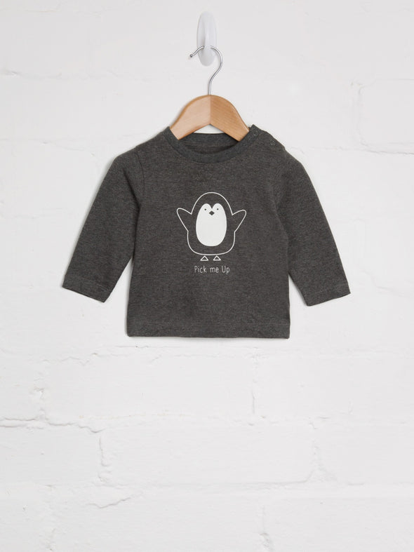 Pick Me Up Charcoal Penguin Tee - cool baby clothes by lucy & sam