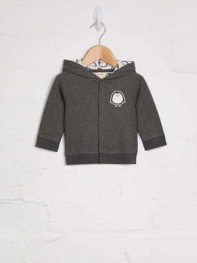 Penguin Charcoal Hoody - cool baby clothes by lucy & sam