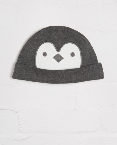 Charcoal Penguin Face Cosy hat - cool baby clothes by lucy & sam