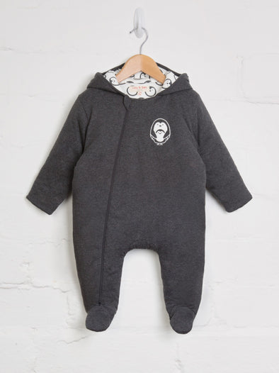 Charcoal Penguin Snuggle Suit - cool baby clothes by lucy & sam