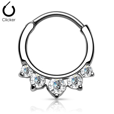 Five CZ Set Round Top 316L Surgical Steel Septum Clicker Rings