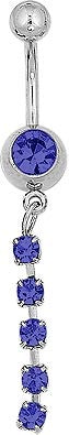 Navel - Blue Gem w/ 5 Gem Dangle
