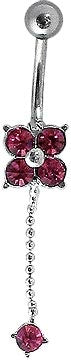 Navel - Red Flower w/ Gem Dangle