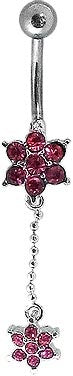 Navel - Pink Gem Flower w/ Pink Gem Flower Dangle