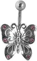 Butterfly Navel w/ Pink Gems