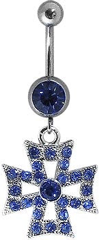 Navel - Blue Gem w/ Maltese Cross