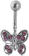 Navel - Butterfly w/ Pink Gems