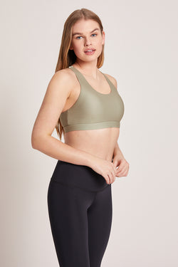 Crossed Medium Support Sports Bra - Sage