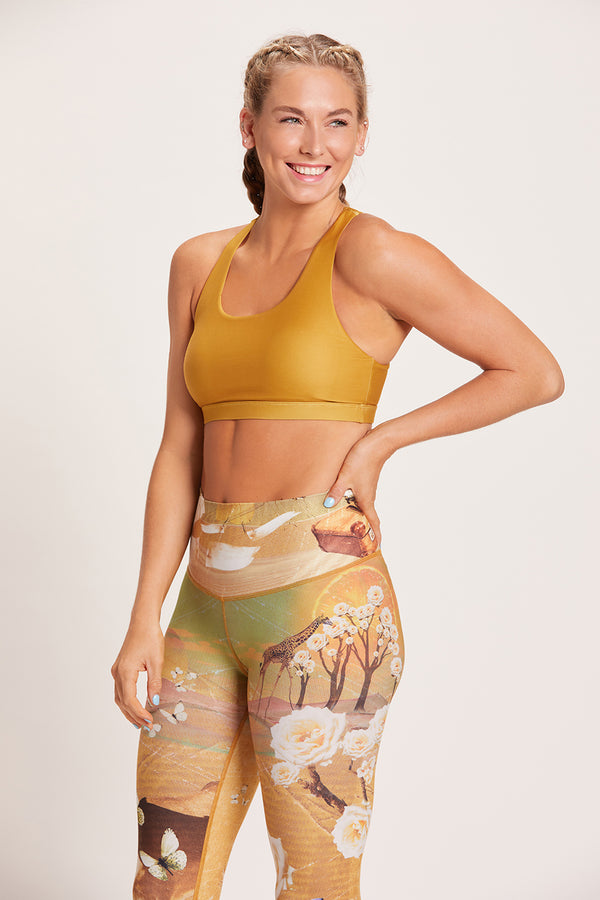 Crossed Medium Support Sports Bra - Tumeric
