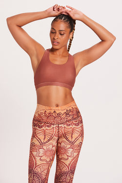 Crossed Medium Support Bra - Henna