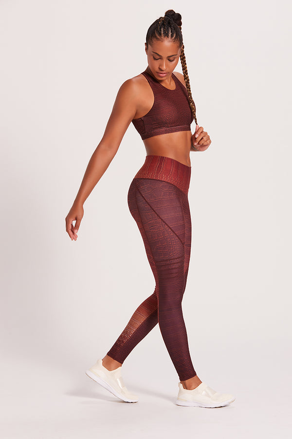 Croc High Waisted Slice Legging - Chocolate