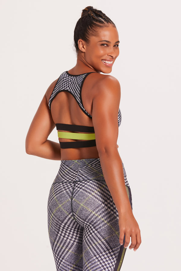 Asana Sports Bra - Racer Plaid