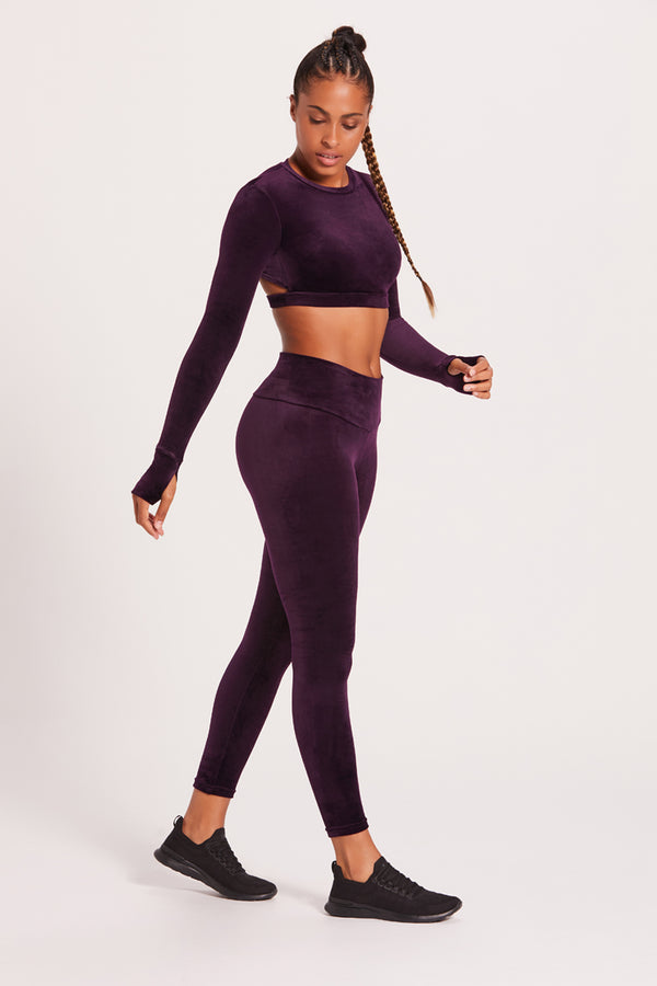 High-Waisted Velour Legging - Plum