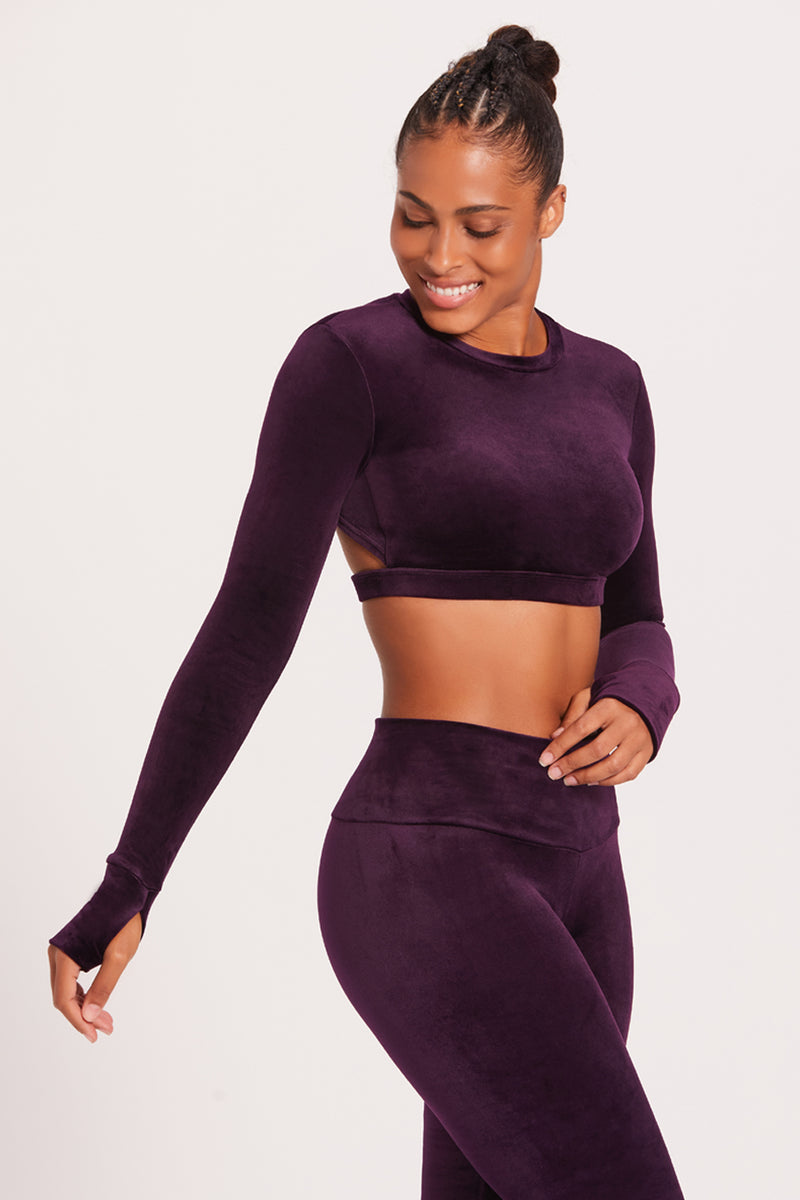 Velour Long Sleeve Crop Sports Top - Plum