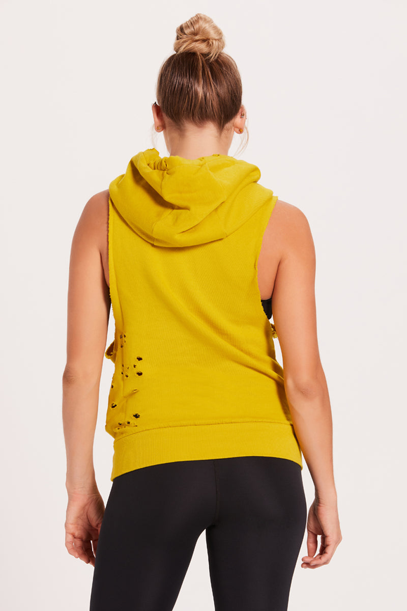 Destroyed Sleeveless Hoodie - Chartreuse