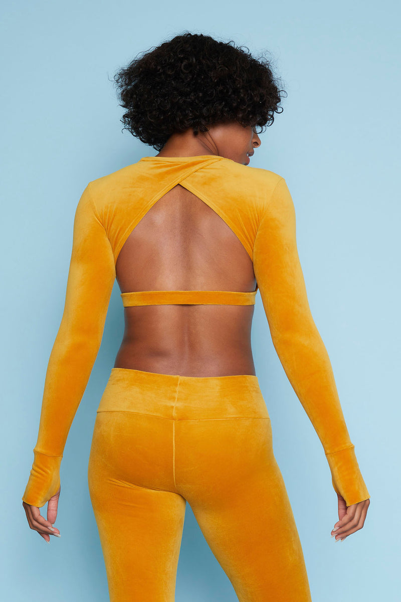 Velour Long Sleeve Crop Sports Top - Marigold