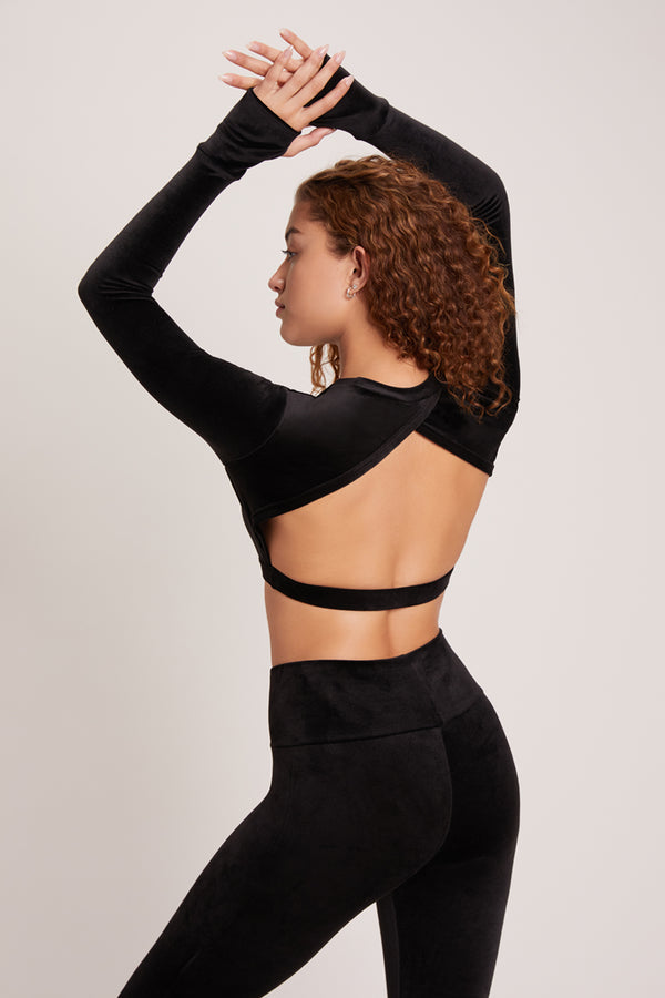 Velour Long Sleeve Crop Sports Top - Black
