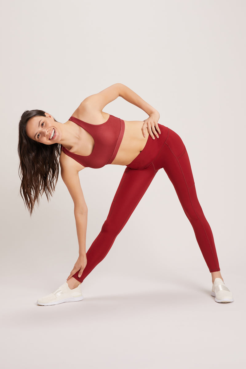 Wander High Waisted Pocket Legging - Vivid Cabernet