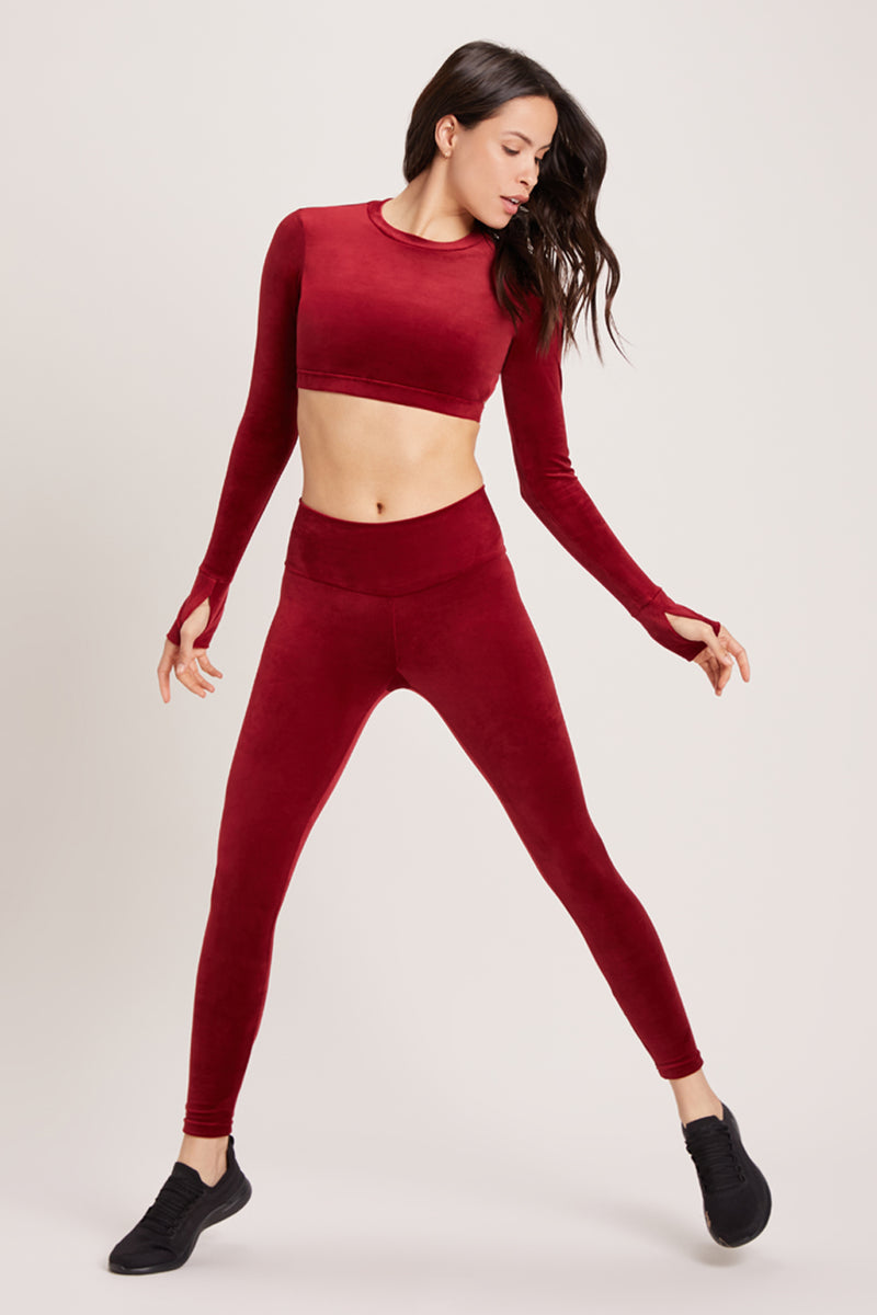 Velour Long Sleeve Crop Sports Top - Syrah