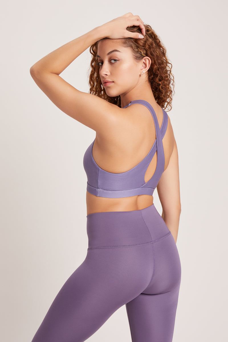 Crossed Medium Support Sports Bra - Amethyst