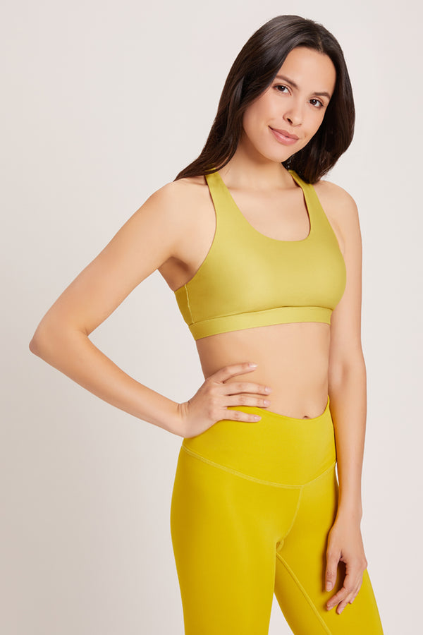 Crossed Medium Support Sports Bra - Chartreuse