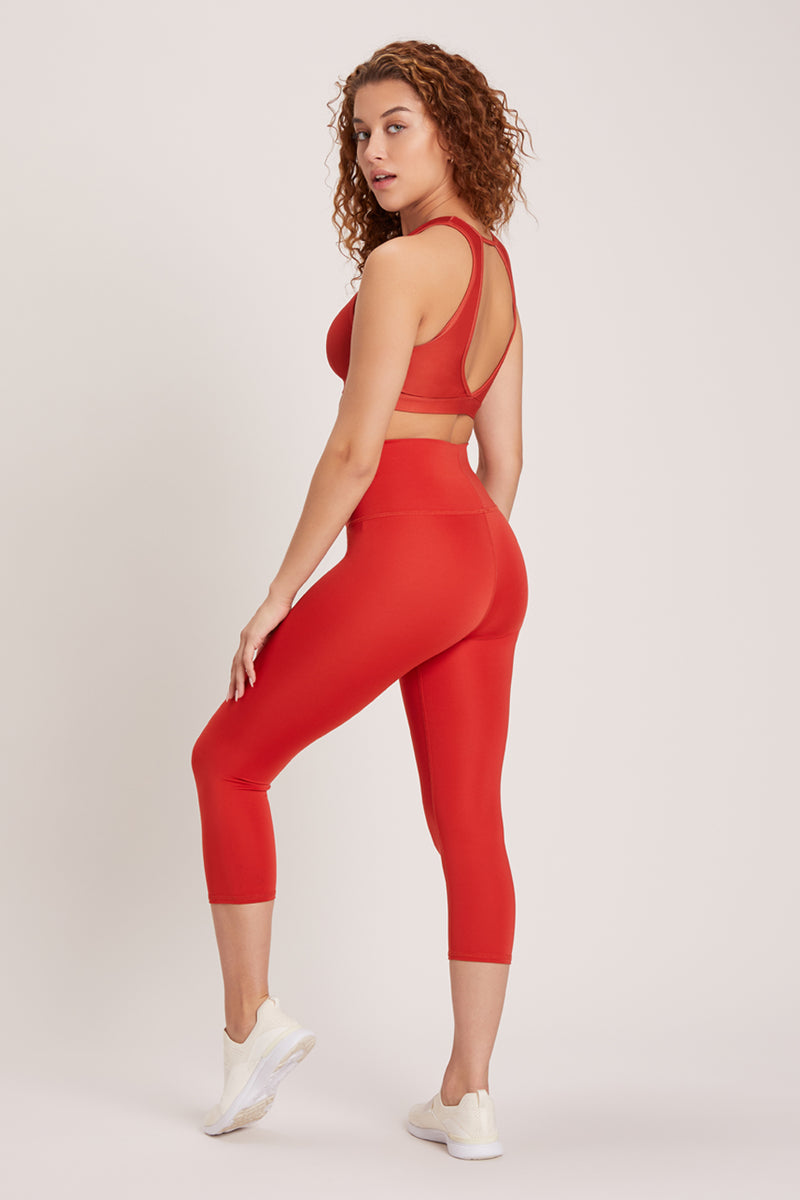 Beachcomber High Waisted Crop - Vivid Chili