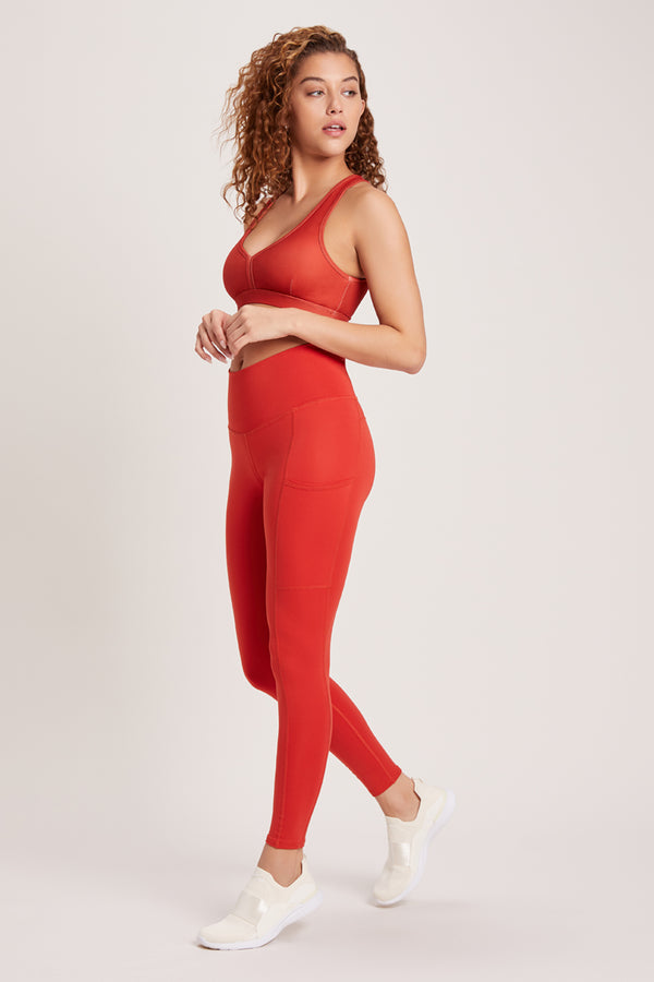 Wander High Waisted Pocket Legging - Vivid Chili