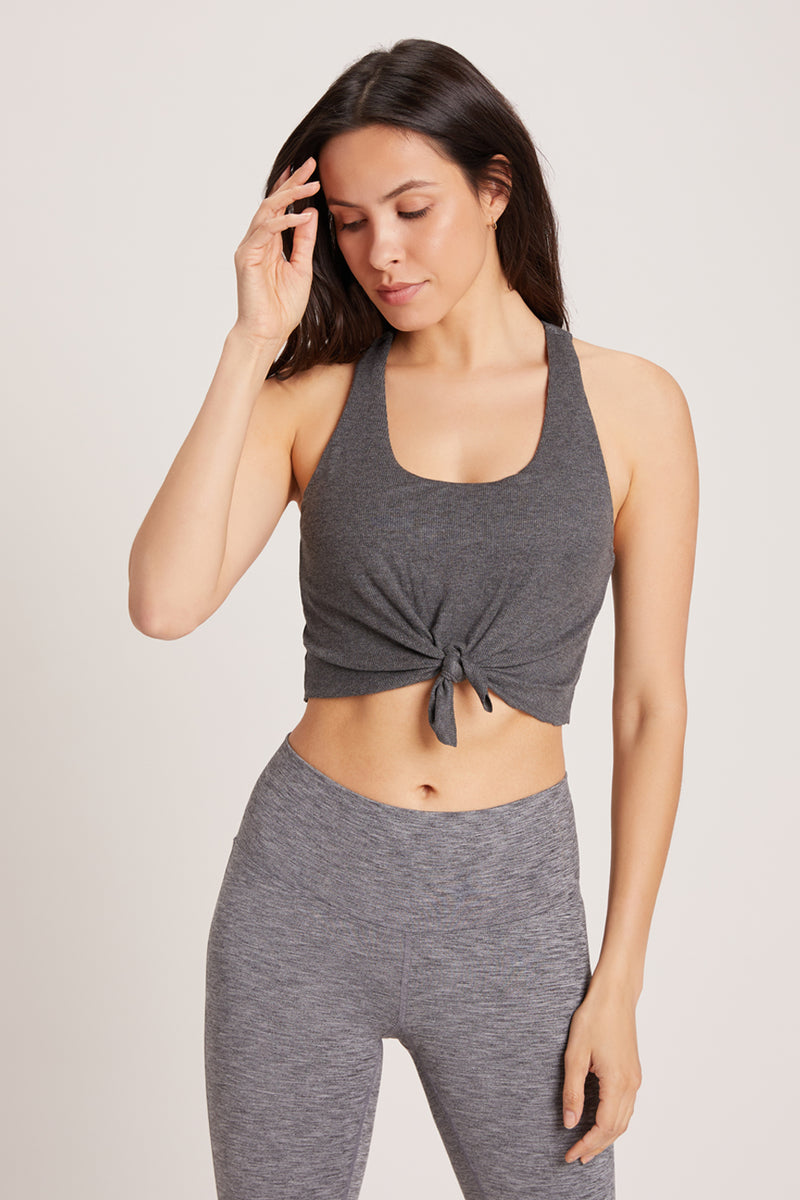 Tie Tank Sports Bra - Dark Heather