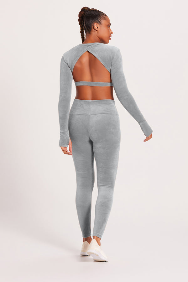 Velour High-Waisted Legging - Cloud