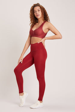 Barefoot High Waisted Legging - Vivid Cabernet