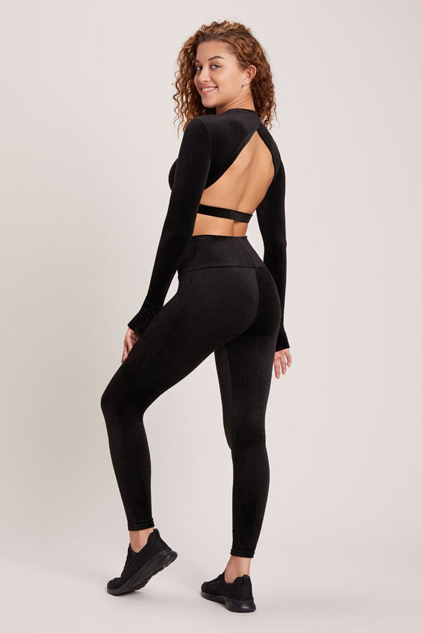 Velour High Waisted Legging - Black