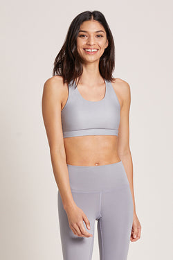 Crossed Medium Support Sports Bra - Platinum