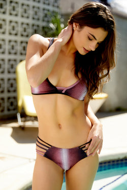 Black Cherry Diamondback Starburst Bikini Bottom