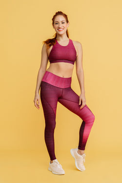 Croc High Waisted Slice Legging - Dragon Fruit