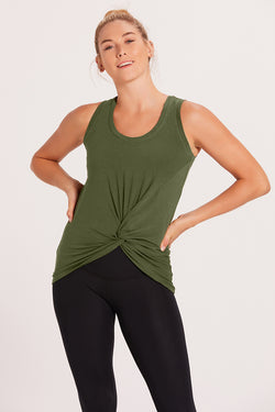 Knotted Tank Top - Olive