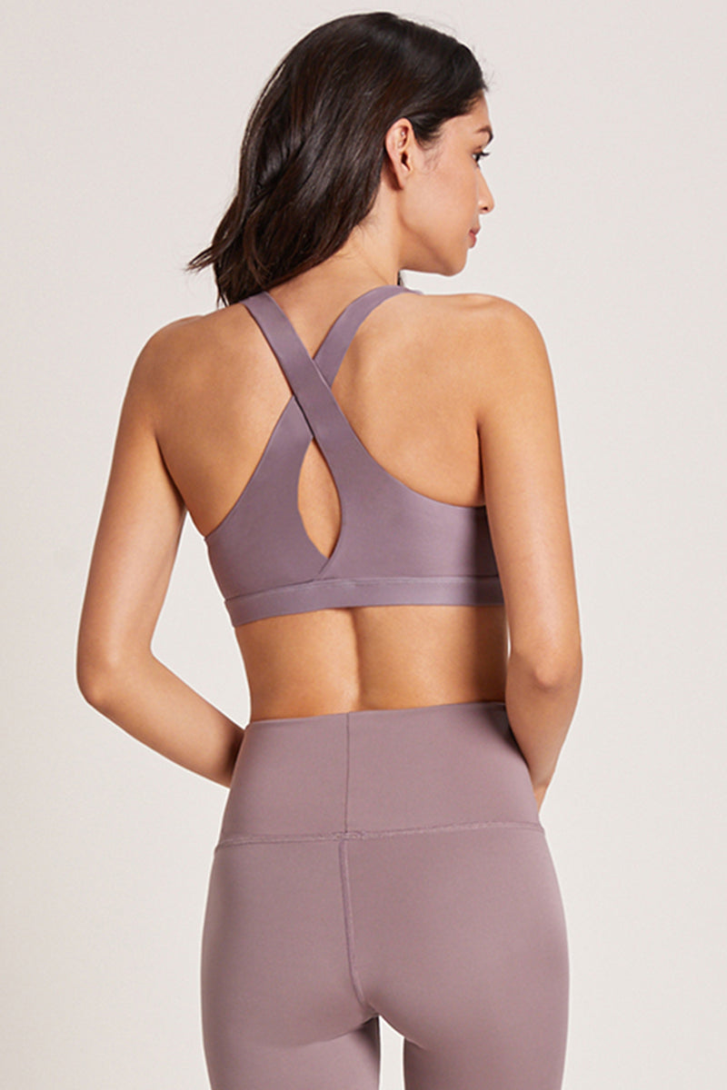Crossed Medium Support Sports Bra - Lavender Latte