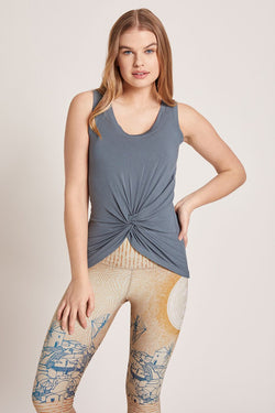 Tie Tank Top - Washed Mediterranean
