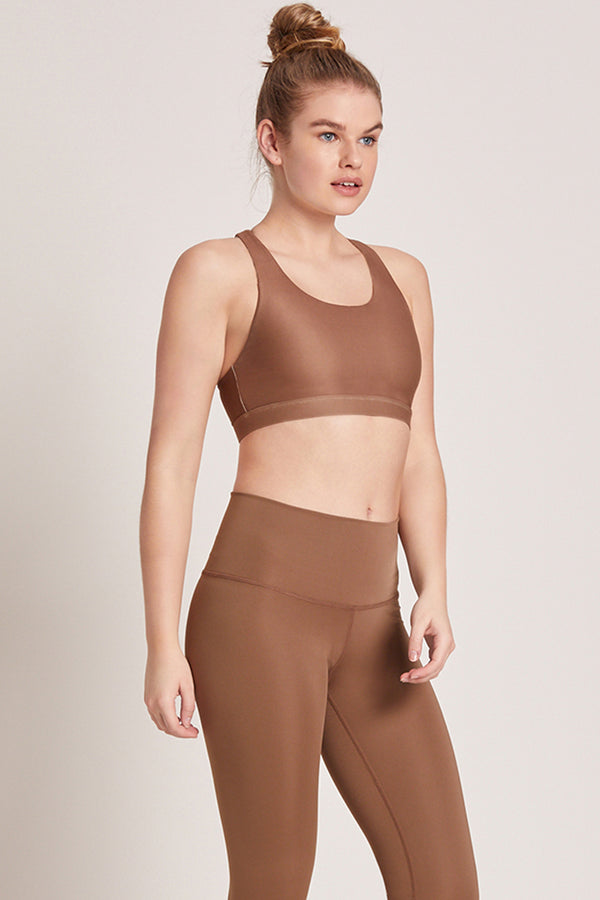Crossed Medium Support Sports Bra - Nutmeg