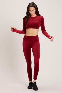 Velour High Waisted Legging - Syrah