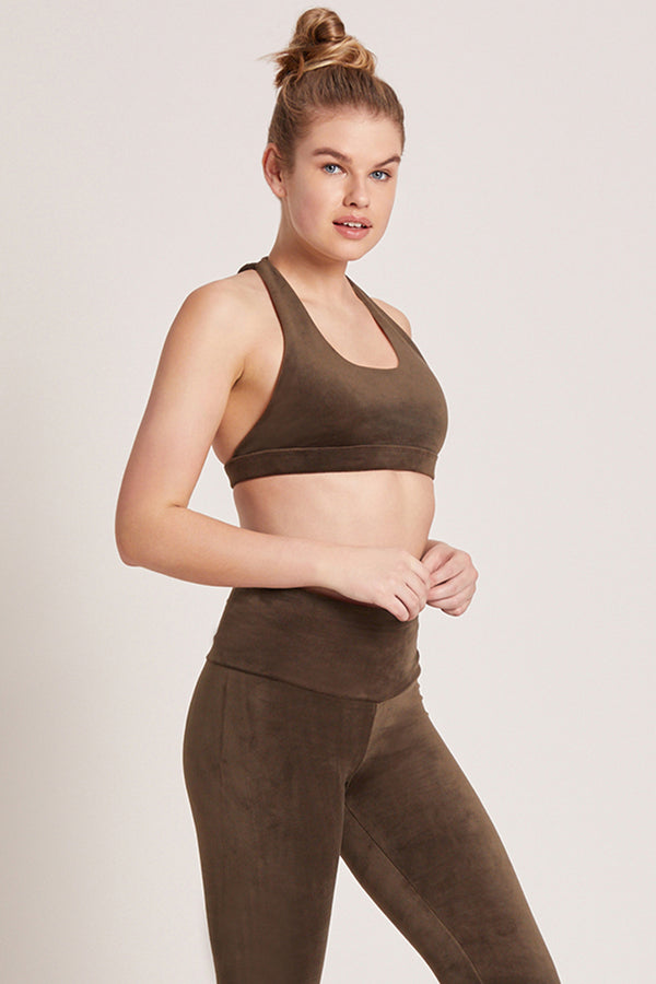 Velour Dream Catcher Sports Bra - Nori