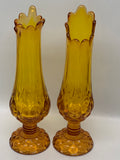 Kanawha Glass Moon & Stars Swung Vase Pair