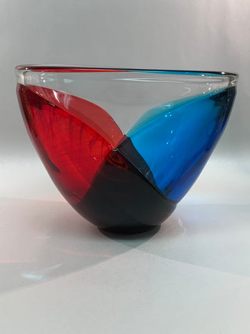 "Blenko ""Wide Cloak Bowl"" Prototype Crystal, Turquoise & Ruby 2019"
