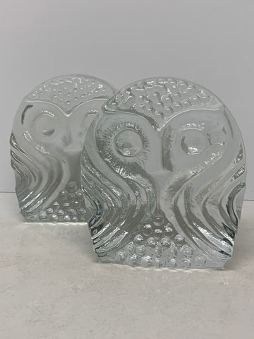 Pilgrim Glass Owl Bookend Pair