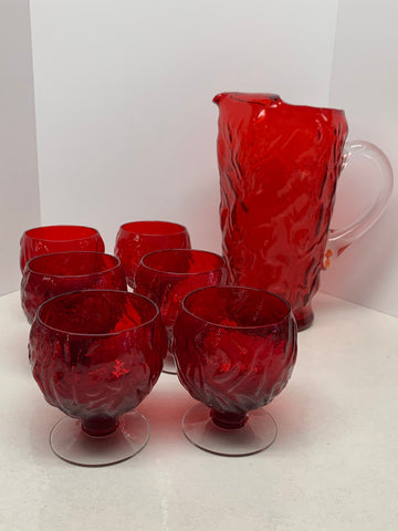 Morgantown / Seneca Glass Pitcher & Footed Glass Set