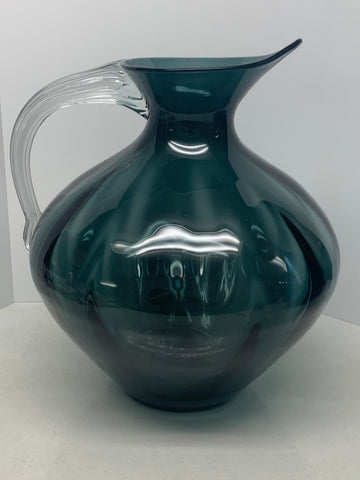 Blenko #963 Pitcher Charcoal with Crystal Handle - Winslow Anderson