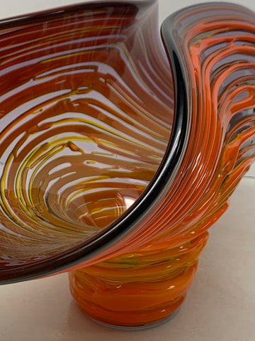 "Blenko Glass Experimental ""Clam"" Bowl - Elderberry & PawPaw - 2019 - A+E"